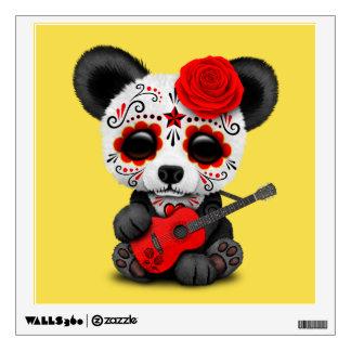 Red Sugar Skull Panda Playing Guitar Wall Decal