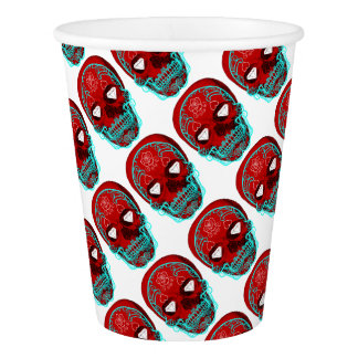 Red Sugar Skull Paper Cup