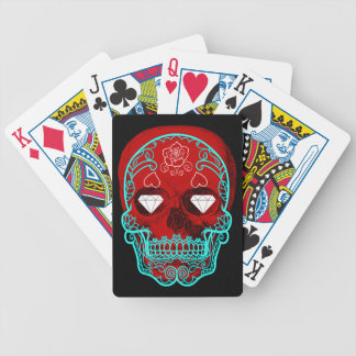 Red Sugar Skull Playing Cards
