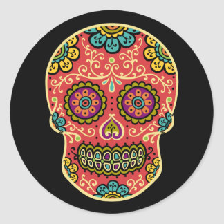 Red Sugar Skull Sticker
