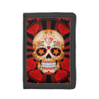 Red Sugar Skull with Roses Poster Tri-fold Wallet