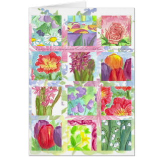 Red Summer Flower Collage Note Card