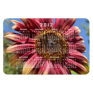 Red Sunflower Calendar Magnet