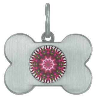 Red Sunflower Fractal Pet Name Tags