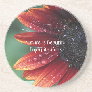 Red Sunflower Nature is beautiful Inspirational Coaster