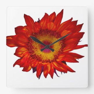 Red Sunflower on White Wall Clock