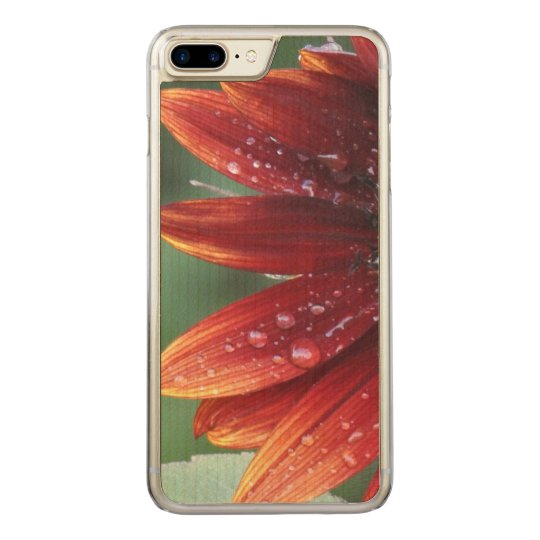 Red Sunflower Petals And Rain Drops Carved iPhone 8 Plus/7 Plus Case