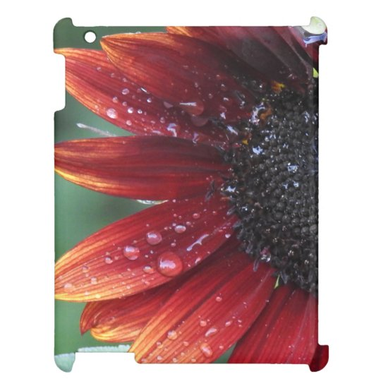 Red Sunflower Petals And Rain Drops Case For The iPad