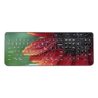 Red Sunflower Petals And Rain Drops Wireless Keyboard