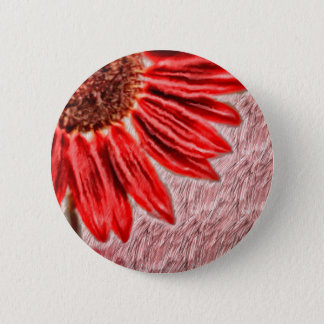 Red Sunflower Sketch 2 Inch Round Button