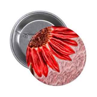 Red Sunflower Sketch 2 Inch Round Button