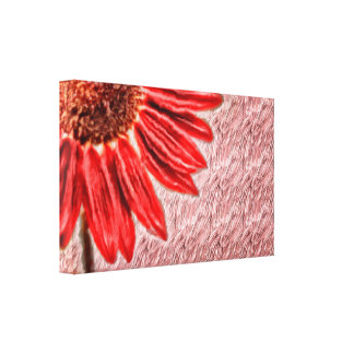 Red Sunflower Sketch Canvas Print