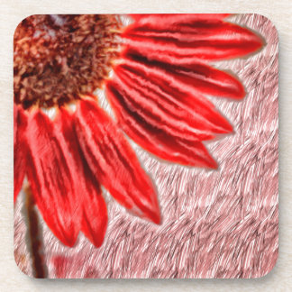 Red Sunflower Sketch Coaster