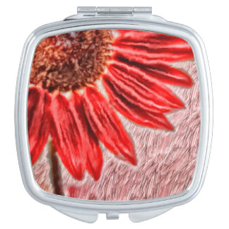 Red Sunflower Sketch Makeup Mirrors