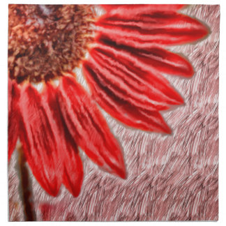 Red Sunflower Sketch Napkin