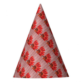 Red Sunflower Sketch Party Hat