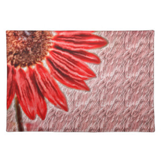 Red Sunflower Sketch Placemat