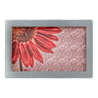 Red Sunflower Sketch Rectangular Belt Buckle