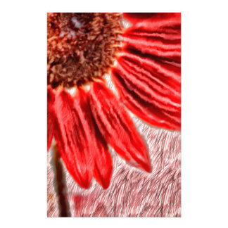 Red Sunflower Sketch Stationery