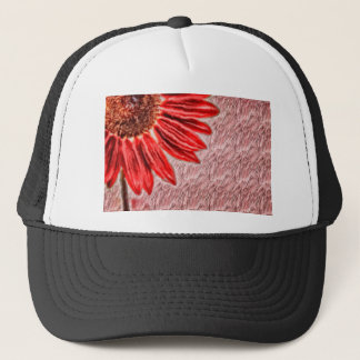 Red Sunflower Sketch Trucker Hat