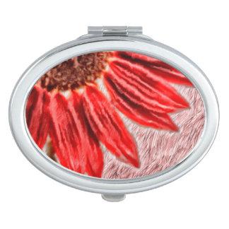 Red Sunflower Sketch Vanity Mirrors
