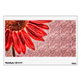 Red Sunflower Sketch Wall Sticker