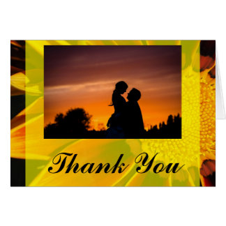 Red Sunflower Wedding Thank You Card