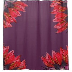 Red Sunflowers Dark Orchid Purple Shower Curtain