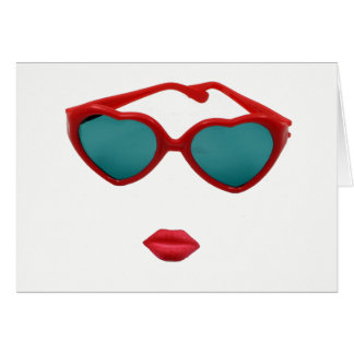 Red Sunglasses and Candy Lips Blank Card