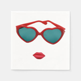 Red Sunglasses and Candy Lips Paper Napkins