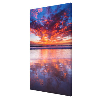 Red sunset over the sea, California Canvas Print