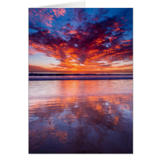 Red sunset over the sea, California Card