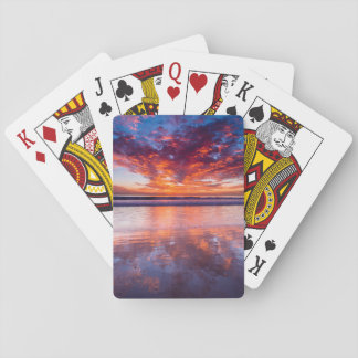 Red sunset over the sea, California Poker Deck