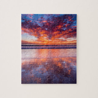 Red sunset over the sea, California Puzzles