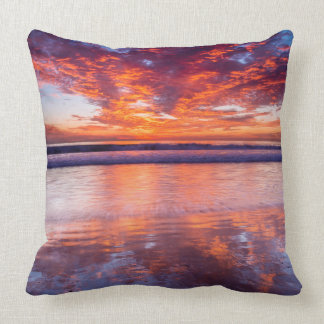 Red sunset over the sea, California Throw Pillow