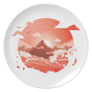 Red sunset plate
