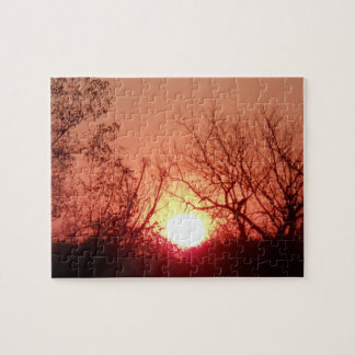 Red Sunset Silhouette Jigsaw Puzzle