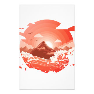 Red sunset stationery