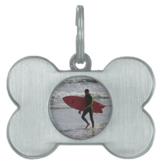 Red Surf Board Pet Tag