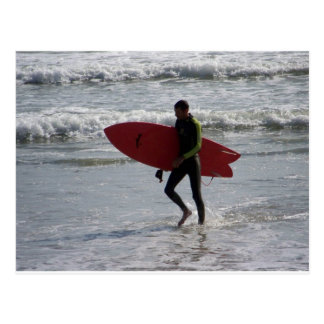 Red Surf Board Postcard