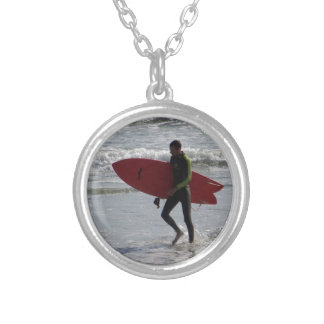 Red Surf Board Silver Plated Necklace