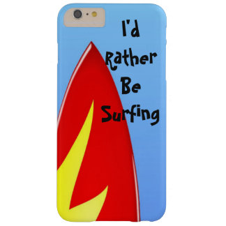"Red Surfboard ""I'd Rather Be Surfing"" Phone Case"