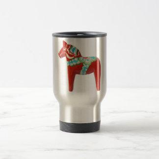 Red Swedish Dala Horse Travel Mug