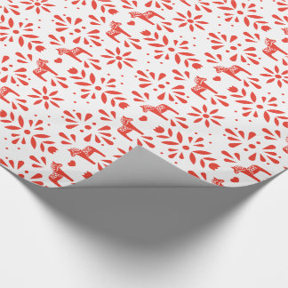 Red Swedish Dala Horse White Holiday Gift Wrap