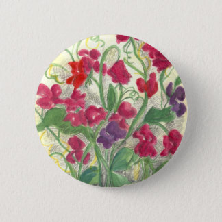 Red Sweet Pea Flower Garden Watercolor Drawing 2 Inch Round Button