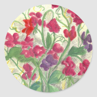 Red Sweet Pea Watercolor Flower Garden Classic Round Sticker