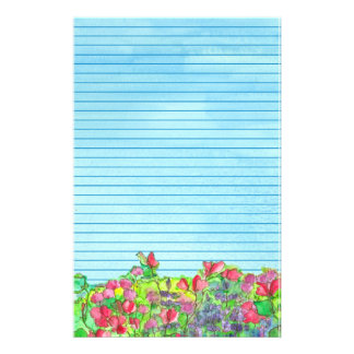 Red Sweet Peas Blue Lined Stationery