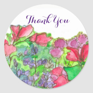 Red Sweet Peas Flowers Thank You Classic Round Sticker