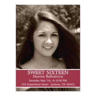 "Red Sweet Sixteen Birthday Invites 6.5"" x 8.7"