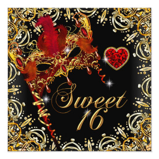 """Red Sweet Sixteen Sweet 16 Masquerade Gold 5.25"""" Square Invitation Card"""